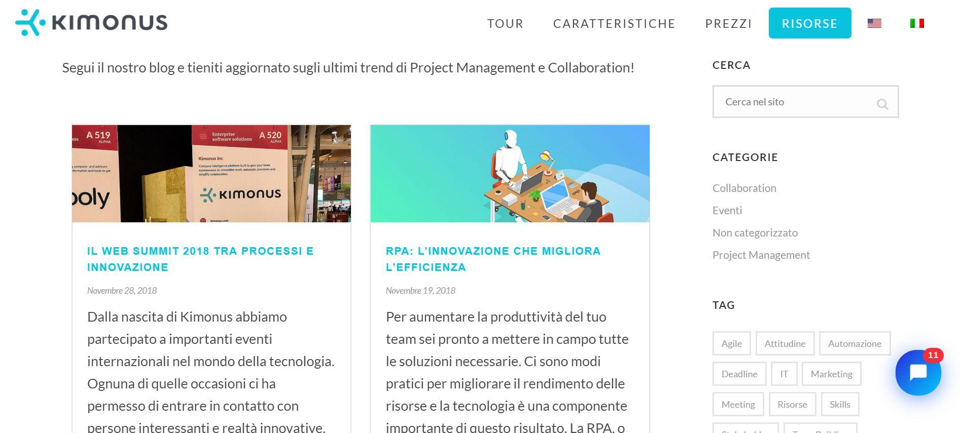 La sezione Blog del sito web di Kimonus.