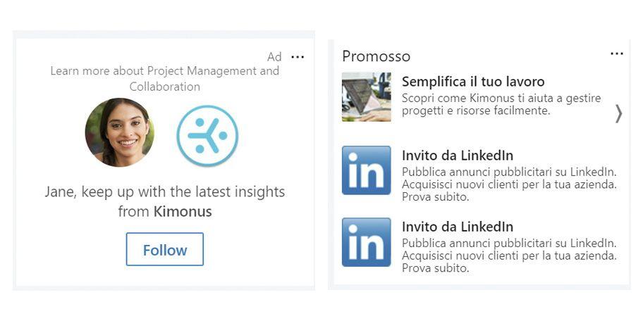 Un esempio di campagna LinkedIn Ads per Kimonus.
