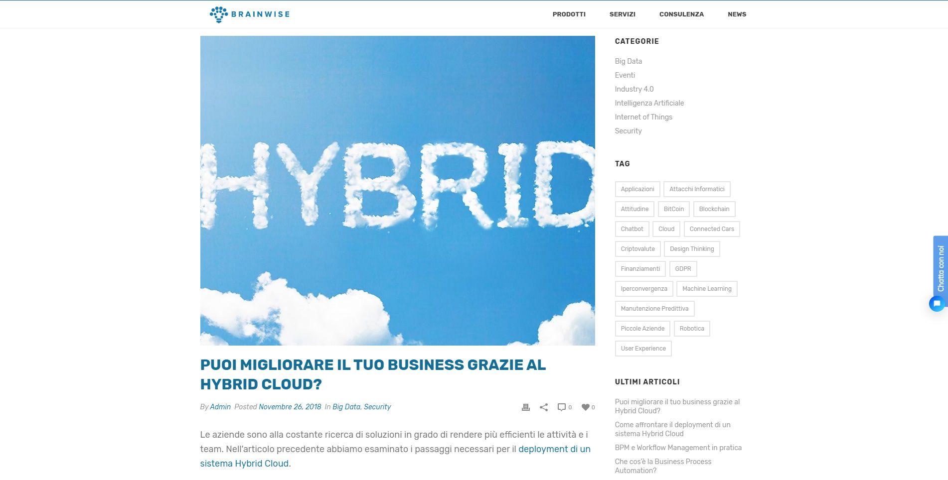 La sezione Blog del sito web di BrainWise.
