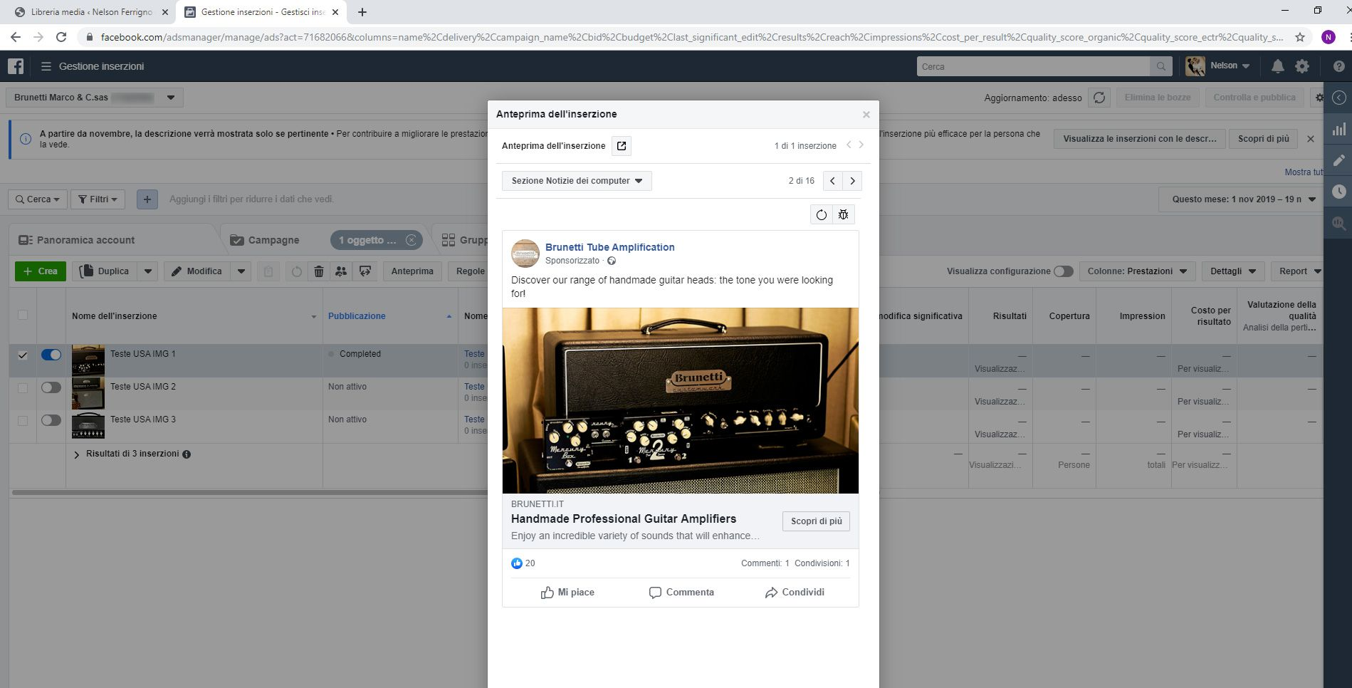 Un esempio di campagna Facebook Ads per Brunetti Tube Amplification.