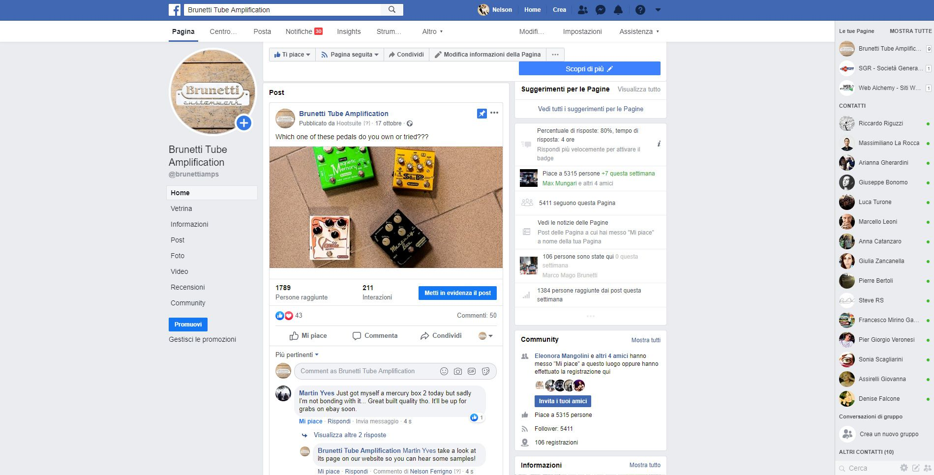 La pagina Facebook di Brunetti Tube Amplification.