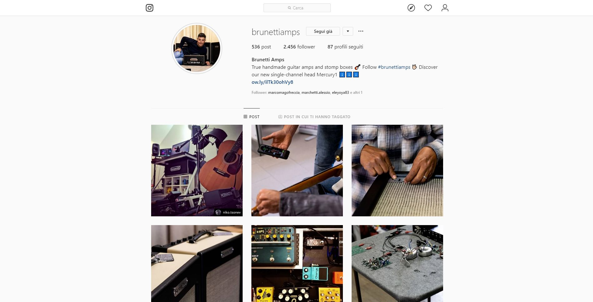 La pagina Instagram di Brunetti Tube Amplification.