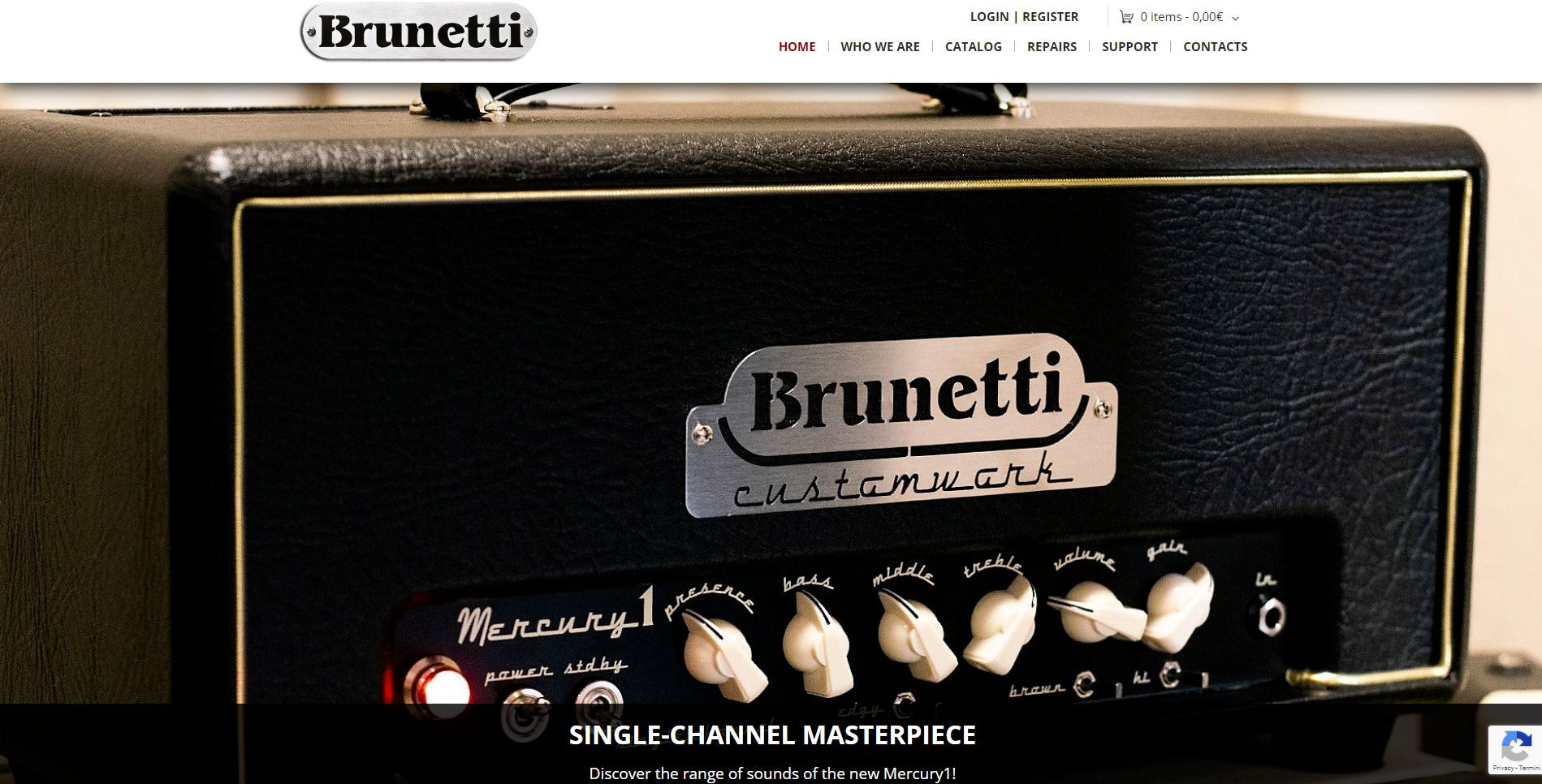 La home page del sito web di Brunetti Tube Amplification.